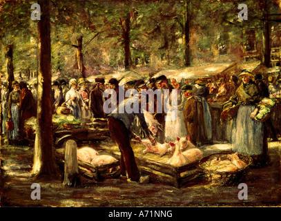 """""""Fine Arts, Liebermann, Max, (1847-1935), Malerei,""""Schweinemarkt in Haarlem""""(""""Schwein Markt in Haarlem""""), 1894, - Stockfoto"""