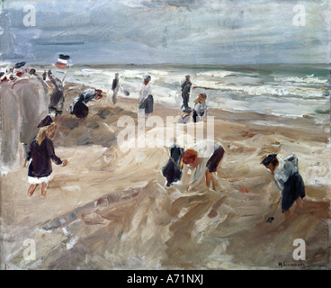 """Fine Arts, Liebermann, Max, (1847-1935), Malerei,""Strandszene in Noordwijk"", (""Strand-Szene in Noordwijk""), staatliche - Stockfoto"