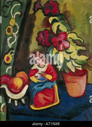 """""""Fine Arts, Macke, August (1887 – 1914), Malerei,""""Stilleben Mit Madonna Petunie Und Äpfeln"""", ("""" Stillleben mit Madonna - Stockfoto"""