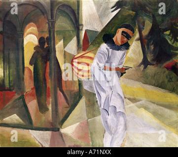 """""""Fine Arts, Macke, August (1887 – 1914), Malerei,""""Pierrot"""", 1913, Öl auf Leinwand, 75 x 90 cm, Halle für Kunst, - Stockfoto"""