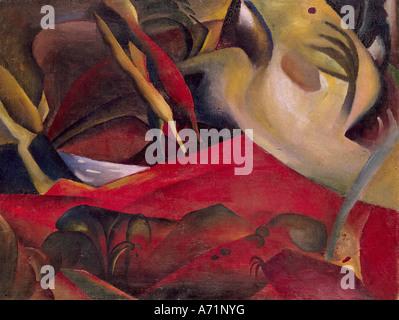 """""""Fine Arts, Macke, August (1887 – 1914), Malerei,""""Der Sturm""""(""""der Sturm""""), 1911, Öl auf Leinwand, 84 x 112 cm, Saarlan - Stockfoto"""