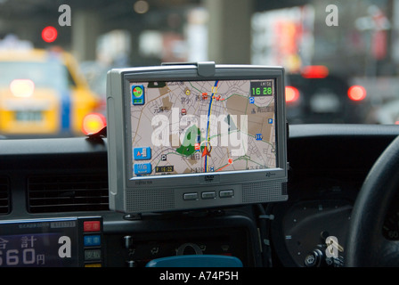 GPS-System in ein Tokio-taxi - Stockfoto