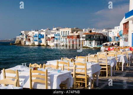 Blick vom Restaurant in Mykonos-Stadt Griechenland Klein-Venedig - Stockfoto
