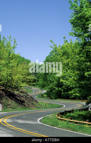 WICKLUNG TALIMENA SCENIC DRIVE DURCH OUACHITA NATIONAL FOREST SCENIC BYWAY, WESTLICHEN ARKANSAS.  SOMMER. - Stockfoto