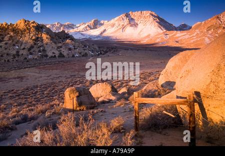 Sonnenaufgang am Mount Tom in Owens Valley in der Nähe von Bischof Kalifornien USA - Stockfoto