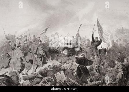 Erfassen von Fort Donelson, Tennessee, 1862. Aus einem Gemälde von Alonzo Chappel. - Stockfoto