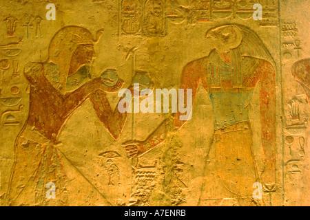 Ägypten. Kalabscha. Beit el Wali Tempel, carving - Stockfoto