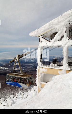 Aomori Seilbahn Gondel Seilbahn Verwaltungssitz Mountain Ski Snowboard Wintersport Tourismus Schnee kalt Reisen - Stockfoto