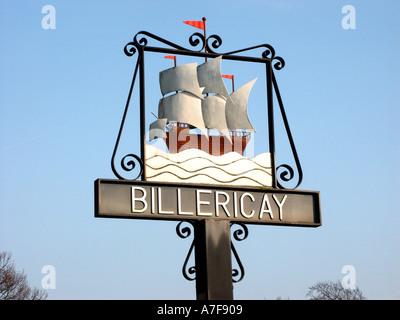 Close up Billericay Stadt Zeichen zum Gedenken an die Mayflower Schiff zu Massachusetts mit lokalen Christopher - Stockfoto