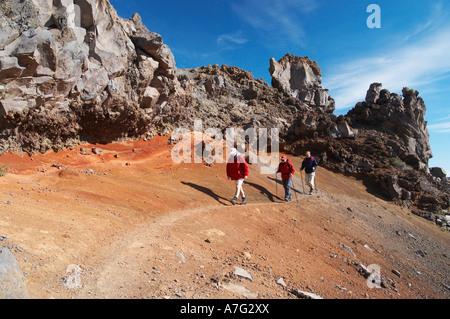 Wanderer in der Nähe von Roque de Los Muchachos, La Palma, Kanarische Inseln, Islas Canarias, Spanien, España, Europa, - Stockfoto