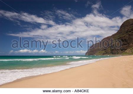 Polihale Beach Park mit Blick auf die Na Pali Küste Kauai Hawaii - Stockfoto