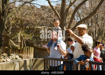 CHICAGO Illinois African American Mann nutzen Digitalkamera Foto Tier im Lincoln Park Zoo Mädchen sitzen auf den - Stockfoto
