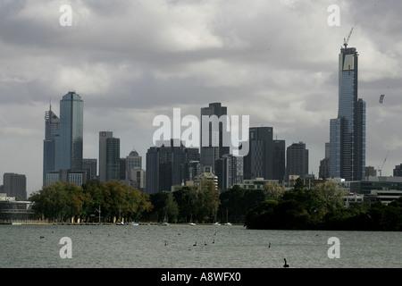 Die Skyline von Melbourne Australian Formula One Grand Prix 01 02 04 06 Albert Park Melbourne Australien - Stockfoto