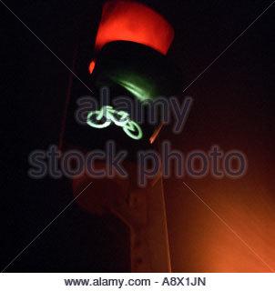 Fahrrad-Ampel auf grün - Stockfoto