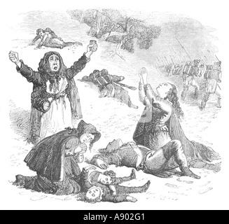 Soldaten und Camp Anhänger auf dem Marsch nach La Coruña 1808 - Stockfoto