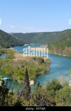 Ansicht von oben Skradinski Buk Wasserfälle, Nationalpark Krka, Kroatien. - Stockfoto