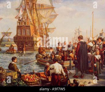 Die Abfahrt der Pilgerväter von Plymouth 1620 - Stockfoto