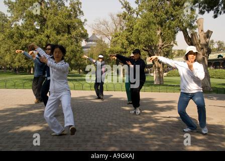Morgen Tai Chi Chuan übt in der Himmelstempel Tiantan Park, Beijing - Stockfoto