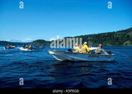 Lachsfischen in Seymour Narrows nahe der Stadt von Campbell River auf Vancouver Island in British Columbia Kanada - Stockfoto