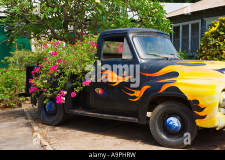 Alten pickup Truck mit Blumen wächst aus ihm heraus Hanapepe Insel Kauai Hawaii - Stockfoto