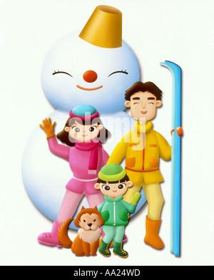 Abbildung Familie im winter - Stockfoto