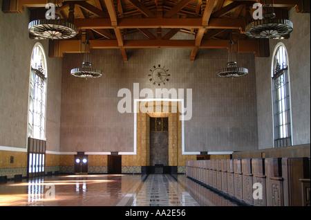 Innern eines der Seite Hallen, Union (Bahn) Station, downtown, Los Angeles, Californa - Stockfoto