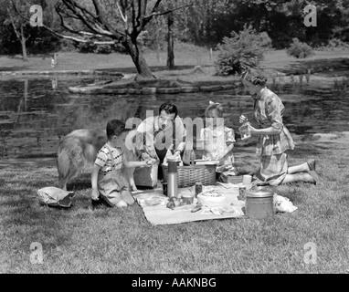 1950ER JAHRE FAMILIE MIT COLLIE HUND PICKNICKS IM PARK MIT TEICH - Stockfoto