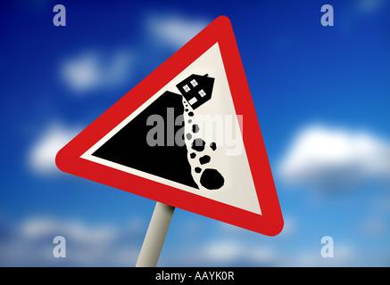 Zeichen anzeigen Haus fallen über den Rand einer Klippe - Stockfoto