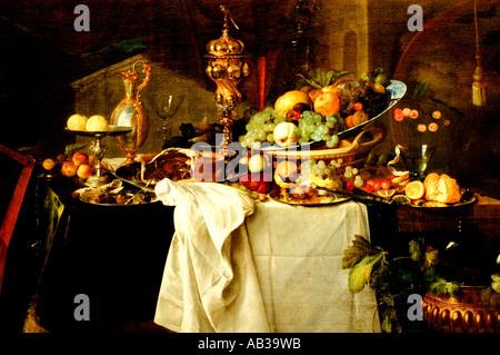 Jan Davidsz de Heem Früchte auf einen reichen Tisch Stillleben - Stockfoto
