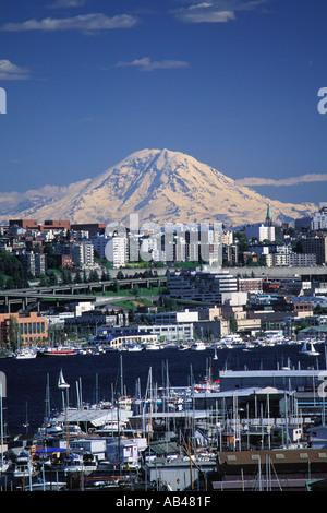 Washington-Seattle Skyline Lake Union Mount Rainier