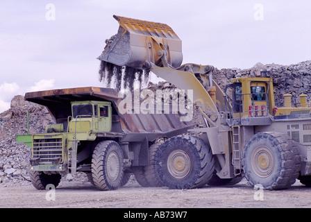 Front End Loader laden ein 100-Tonnen-Kipper in einem Kalksteinbruch auf Texada Island in British Columbia Kanada - Stockfoto