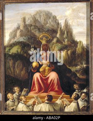 Bildende Kunst, religiöse Kunst, Jungfrau Maria, Madonna mit Kind, Frau von Montserrat mit Chor Jungen, Malerei, - Stockfoto