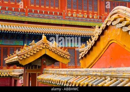 Dach-Dekoration in der verbotenen Stadt Peking China JMH1436 - Stockfoto
