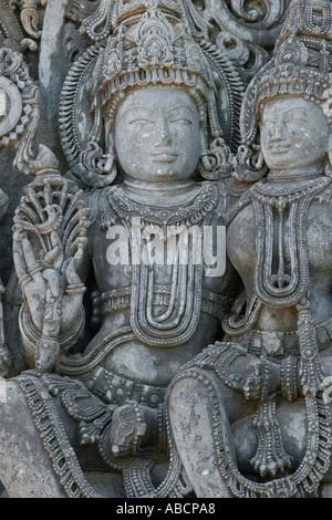 Gravur von Shiva und Parvathi Tempel Halebid Karnatika Indien - Stockfoto