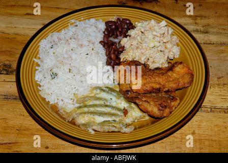 Typische costaricanische Essen, Comida Tipica.  Fleisch, Gemüse, Reis und Bohnen (Gallo Pinto) - Stockfoto
