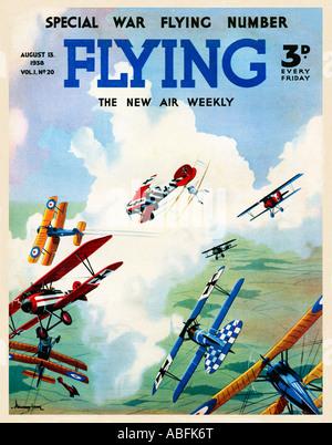 Fliegende Luftkampf 1938 Magazin-Cover zeigt einen großen Krieg Luftaufnahmen Luftkampf zwischen den S E 5a und - Stockfoto