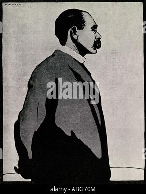 Der britische Autor Joseph Rudyard Kipling 1865 1936, geboren in Indien - Stockfoto