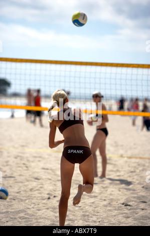 Beach Volleyball Mount Maunganui Bucht von viel New Zealand - Stockfoto