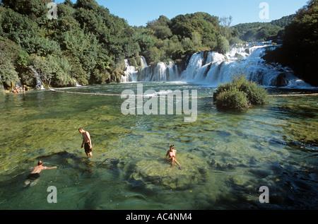 Rock Pool Skradinski Buk Wasserfälle Krka Nationalpark Kroatien - Stockfoto