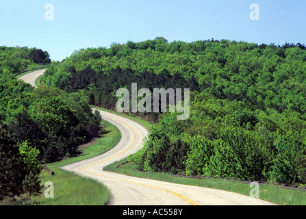 WICKLUNG TALIMENA SCENIC DRIVE DURCH OUACHITA NATIONAL FOREST SCENIC BYWAY, EASTERN OKLAHOMA.  SOMMER. - Stockfoto