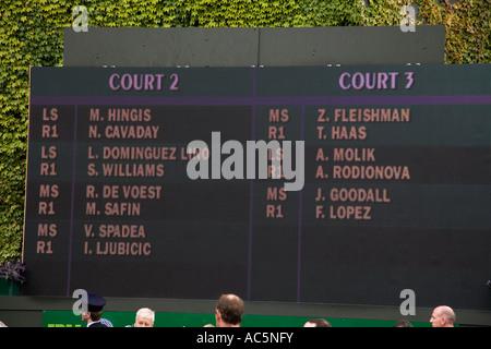 Auftrag des Spiels für die Plätze 2 und 3 über die Öffnung Tag Wimbledon Tennis Championship 2007 UK - Stockfoto