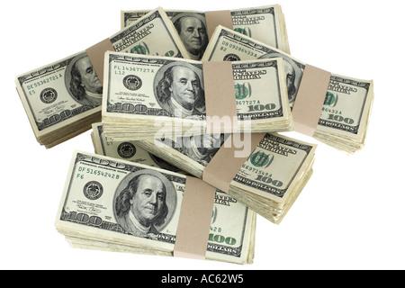 Stapel von 100-Dollar-Scheine - Stockfoto