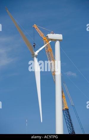 Kran-Installation Propeller, Generator, Windrad, Oregon - Stockfoto