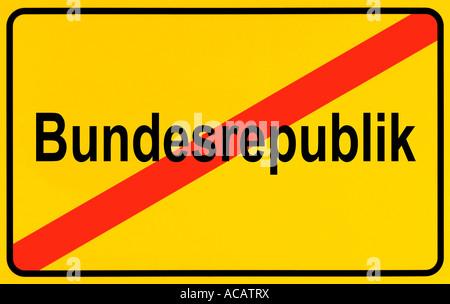 Deutsche Stadtgrenzen Zeichen symbolisiert Ende der Bundesrepublik Deutschland - Stockfoto