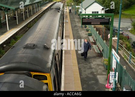 Machynlleth Powys Railway Station Junggeselle Plattform, Diesel DMU trainieren nur entlang kam in - Stockfoto