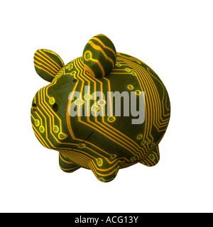 Platine aufgedruckt Sparschwein bedeutet elektronische Einsparungen - Stockfoto