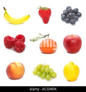 Eine Auswahl an frischem Obst neun 9 - Stockfoto