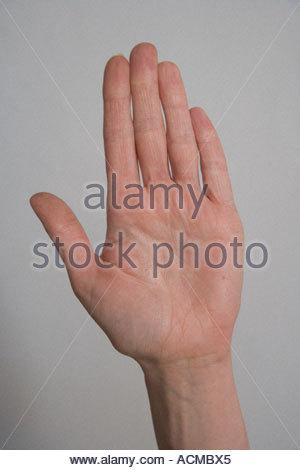 Eine Frau die Hand mit der Handfläche - Stockfoto
