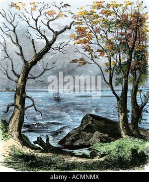 Plymouth Rock mit der Mayflower in der Bucht Anker. Hand - farbige Holzschnitt - Stockfoto