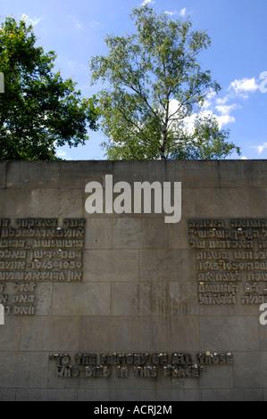 um die Meory aller Verstorbenen in diesem Ort Gedenkstätte Wand Bestattung Bergen-Belsen senken Sachsen Deutschland - Stockfoto